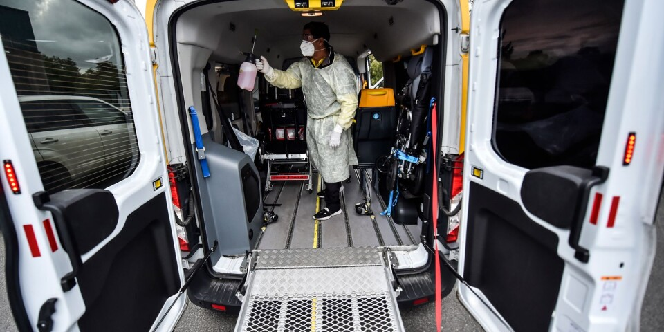 The car is specially equipped. Only infected patients travel in it.
