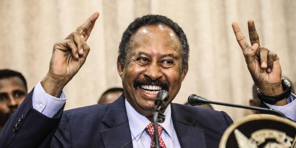 Sudans nya premiärminister Abdalla Hamdok framträder efter att ha svurits in på posten.