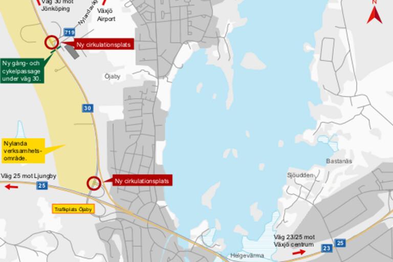Trafikverket startar arbetet med två nya rondeller i Växjö