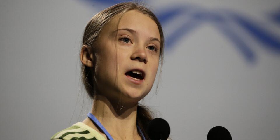 Klimataktivisten Greta Thunberg under ett tal vid FN:s klimatkonferens i Madrid i onsdags.