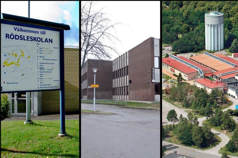 Vallhallaskolan, Rödsleskolan, Kristinebergsskolan och Oscarsgymnasiet har alla hotats.