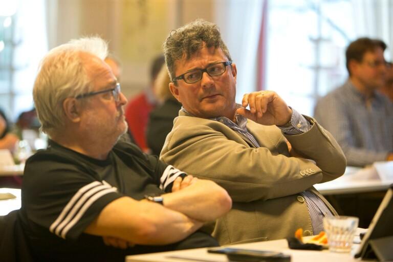 Gunnar Hedin, till vänster, är en av moderaterna som tycker att Mikael Rubin borde ha förankrat utspelet om folkomröstning internt.