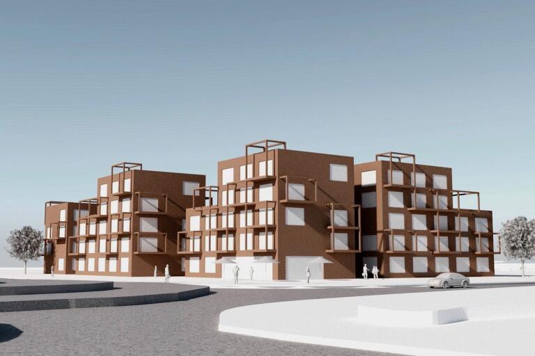 Så här är det tänkt att bostäderna vid Havrejordsvägen/väg 108 ska utformas.