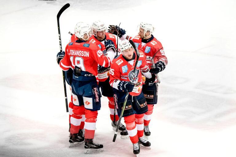 Borås HC firar ett mål. Arkivbild.