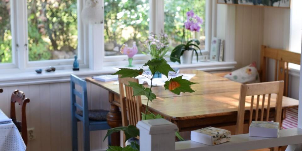 En favoritplats som Marianne har är det tillbyggda rummet. När det är livespelningar inne sitter det gäster vid bordet för att ta del av musiken.