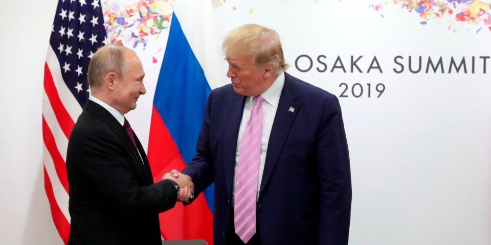 U.S. President Donald Trump, right, and Russian President Vladimir Putin greet each other during a bilateral meeting on the sidelines of the G-20 summit in Osaka, Japan, Friday, June 28, 2019. (Mikhail Klimentyev, Sputnik, Kremlin Pool Photo via AP)