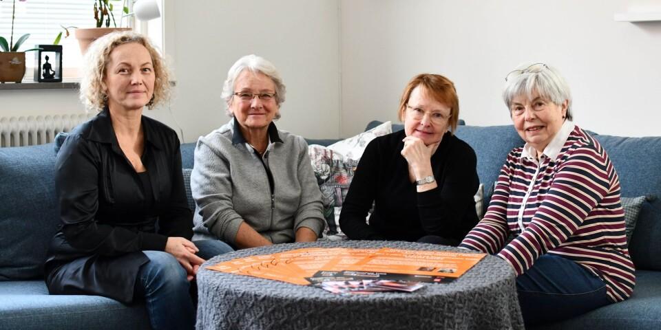 Susanna Udvardi, verksamhetschef på Freezonen, Kerstin Påhlsson, Soroptimisterna, Anita Svensson, Sydöstra Skånes Zontaklubb och Astrid Hansson, Inner Wheel.
