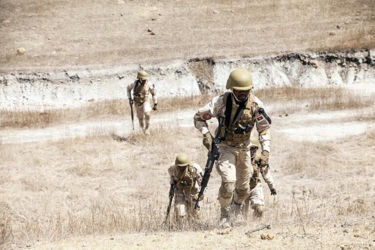 Militärer i Burkina Faso under en övning i februari. Arkivbild.