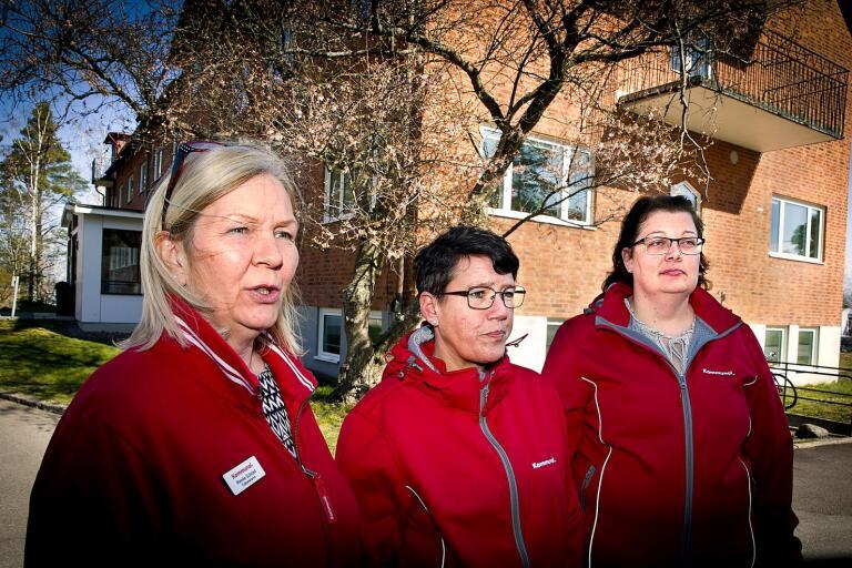 Renée Solstad, ordförande, och huvudskyddsombuden Anneli Bergman och Pernilla Loman har tät kontakt med medlemmar som arbetar i omsorgen.