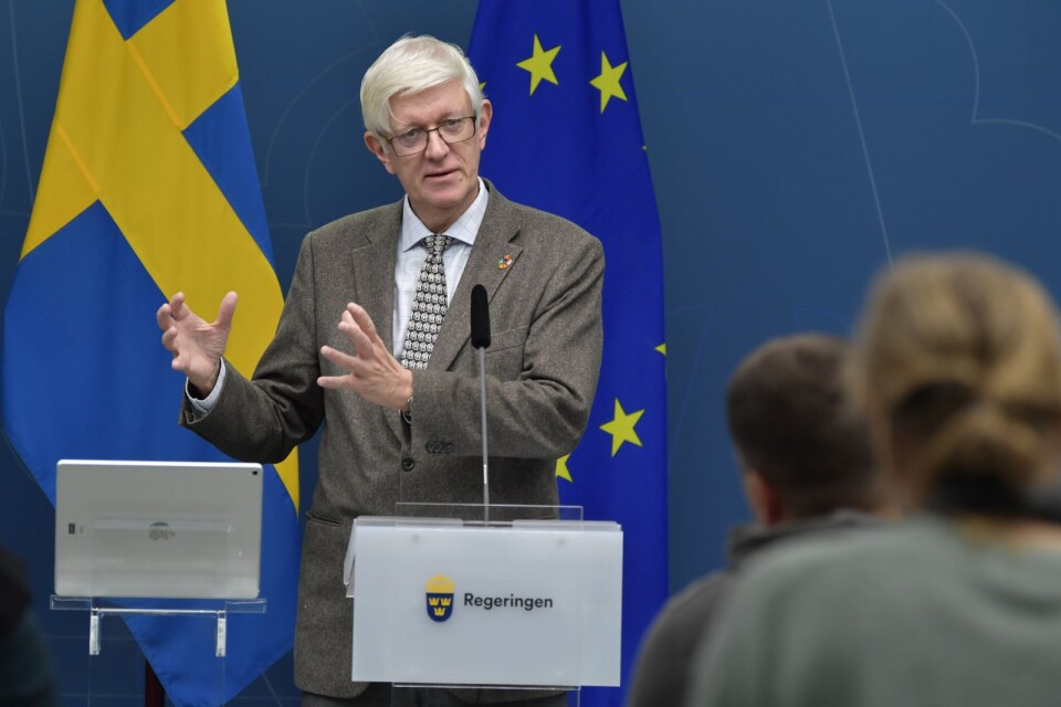 Johan Carlson, Head of the Public Health Agency of Sweden at Wednesday's press conference in Rosenbad, Stockholm.