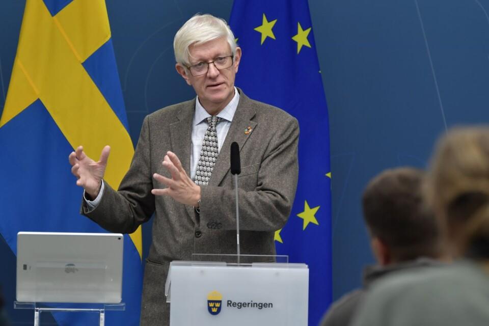 Johan Carlson, generaldirektör på Folkhälsomyndigheten vid onsdagens presskonferens på Rosenbad, Stockholm.