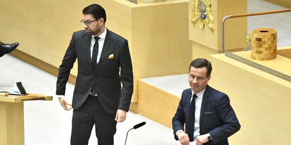 STOCKHOLM 20190130 Sverigedemokraternas partiledare Jimmie Åkesson (SD) och Moderaternas partiledare Ulf Kristersson (M) har mötts för samtal.