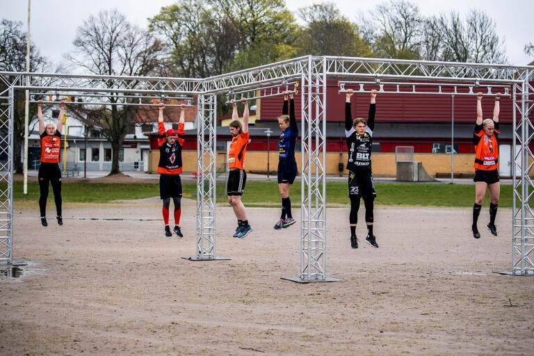 Så här det ut i ett av tävlingsmomenten när Sportduellen Karlskrona avgjordes.