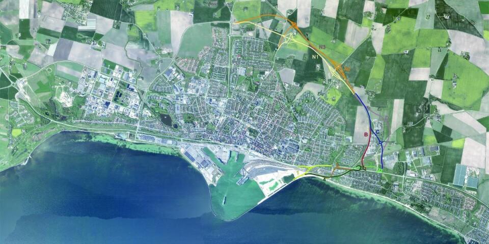 Sträckningar för ringvägen. Arkivbild från kommunen.