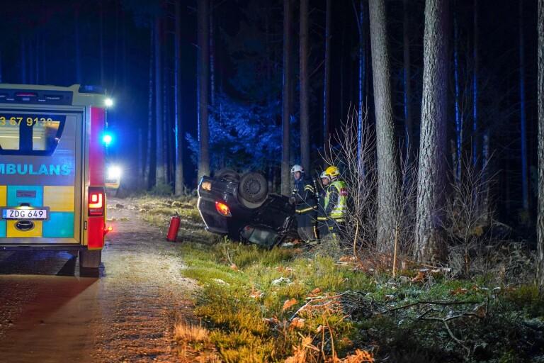 Olycka: Väjde för djur – körde in i träd och voltade