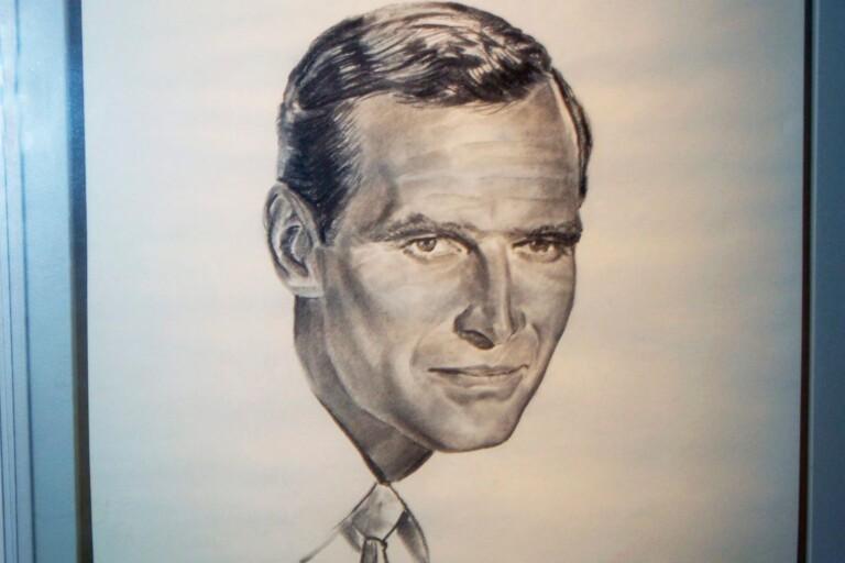 En målning som föreställer Charlton Heston.