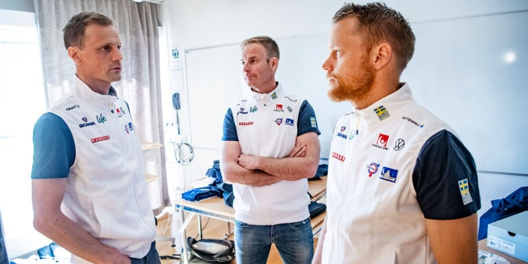 Längdchef Daniel Fåhraeus, vallachef Petter Myhlback och landslagschef Anders Byström.
