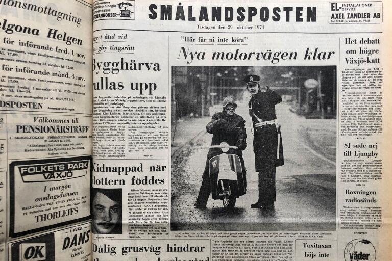 Smålandspostens förstasida den 29 oktober 1974. Frågan kvarstår, vem var mannen på mopeden?