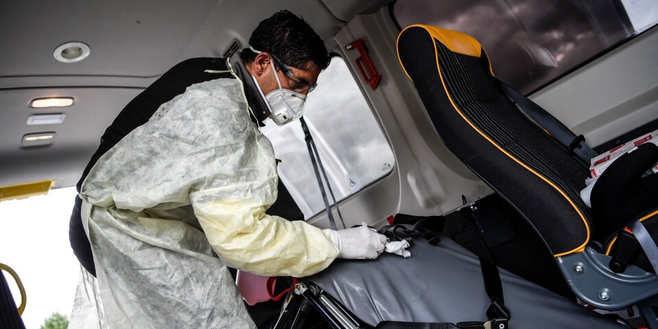 """After every client Mohamed disinfects the car. """"I know the virus may be lurking somewhere when I've dropped off a patient. So I wipe everything down and disinfect everything thoroughly""""."""