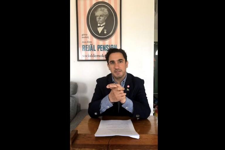 Ardalan Shekarabi sände sitt förstamajtal digitalt på Socialdemokraterna Sjuhärads sida.