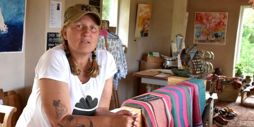 Butiken ligger på husets ovanvåning och Sofia Wiberg hoppas att kunderna ska känna sig som hemma.