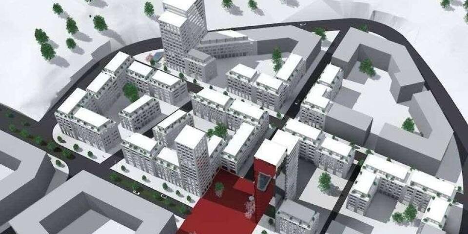 Här på Getängen i Borås vill ägarna av gamla Haléns bygga runt 500 bostäder i sju kvarter. Illustration: Consortio Fashion Group.