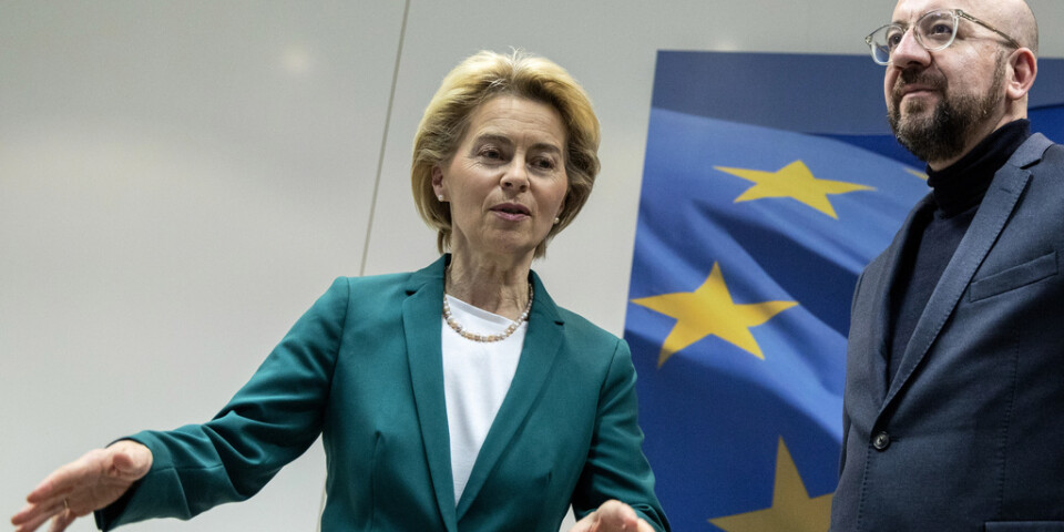 EU-kommissionens ordförande Ursula von der Leyen och EU:s rådsordförande Charles Michel har skrivit under brexitavtalet. Bild från tidigare i januari.