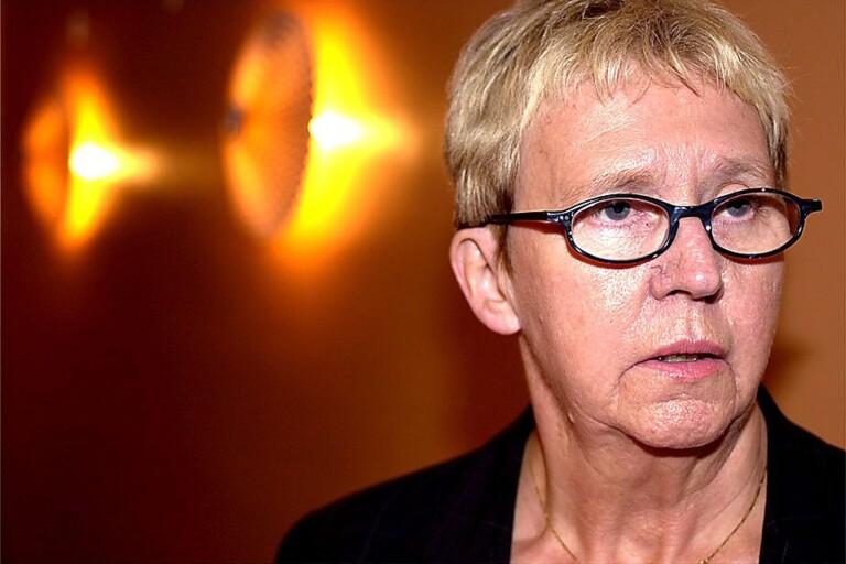 Margareta Yngvesson (C) vid en valvaka i Herrljunga 2002.