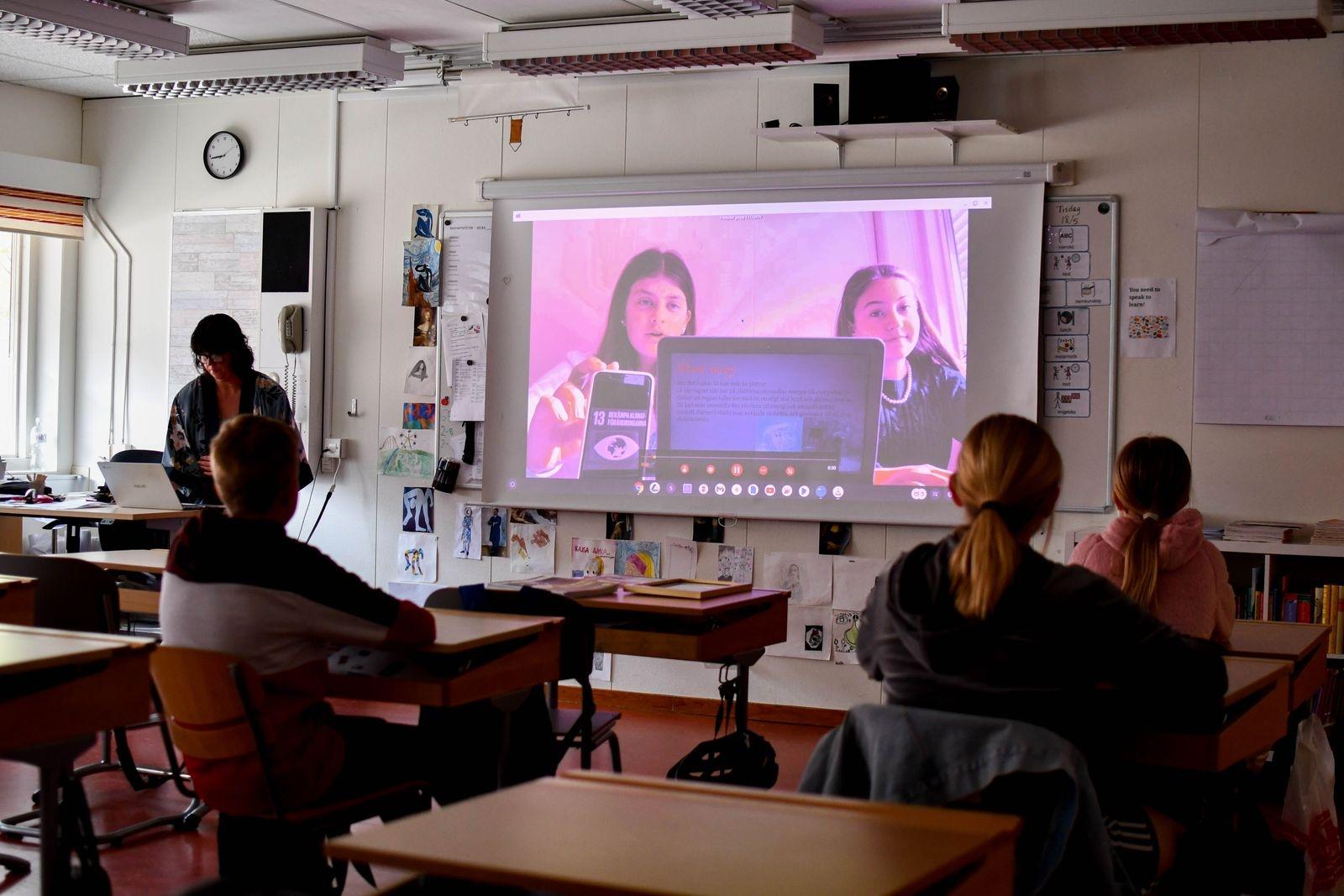 Klassen presenterade sina idéer i korta filmer.