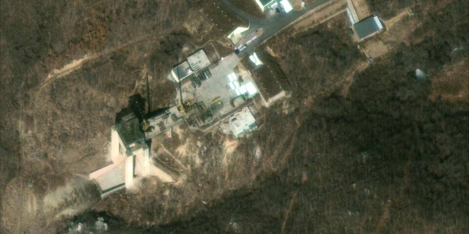 En satellitbild över satellituppskjutningsplatsen Sohae. Arkivbild.