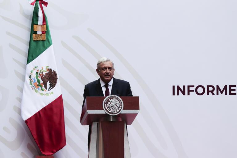 Mexikos president Andrés Manuel López Obrador under ett tal i Mexico City i april. Arkivbild.