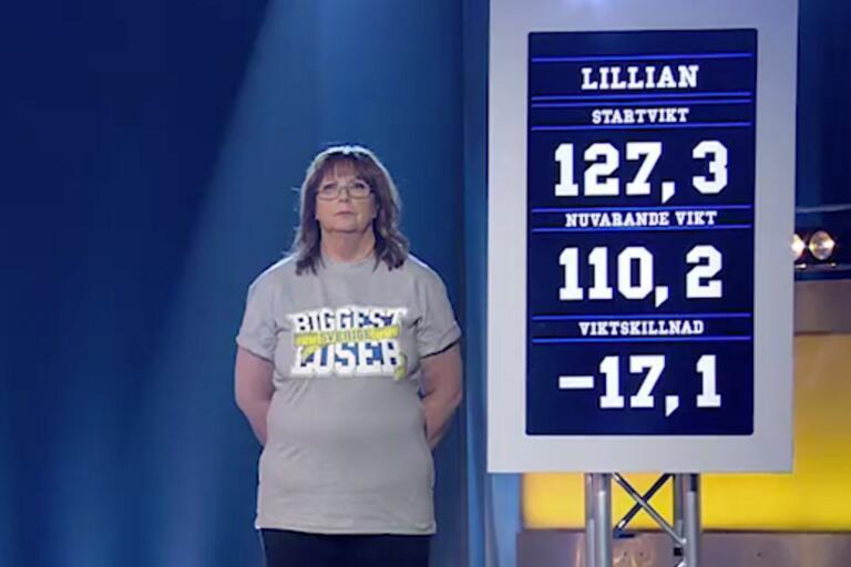 Lillian Jakobsson Lindblad började på 127,3 kilo och tappade 17,1 under tävlingen – 13,4 procent av ursprungsvikten.