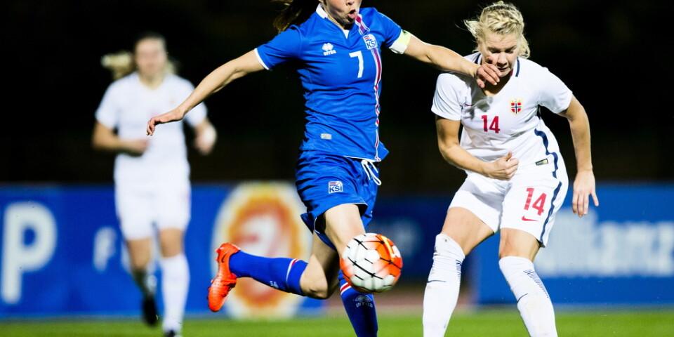 Sara Björk Gunnarsdóttir är Islands stora stjärna och den som Sverige måste hålla bäst koll på i EM-kvalet på tisdag. Arkivbild.