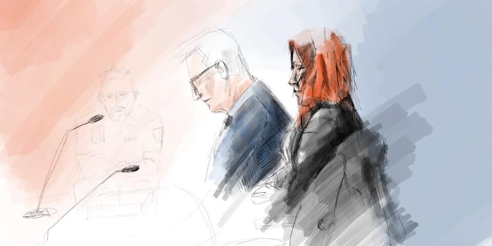Illustration från förhandlingen mot mamman som står åtalad för mord på sin treåriga dotter.
