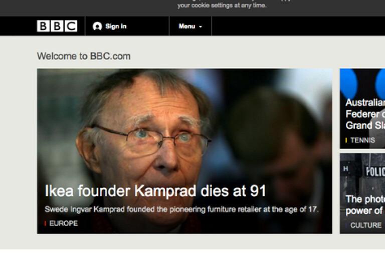 Ingvar Kamprads död är en världsnyhet