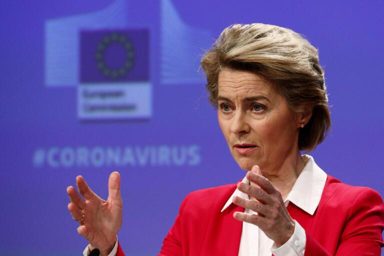 EU-kommissionens ordförande Ursula von der Leyen presenterar Sure – ett nytt EU-system för korttidsarbete.