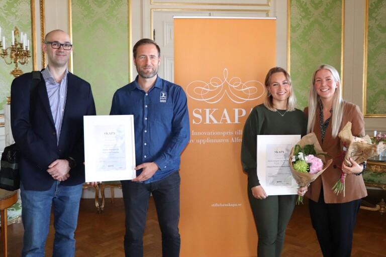Årets två pristagare av SKAPA-priset 2020. Från vänster: Pietro Campana, Mattias Holmquist, Johanna Persson och Johanna Strand.