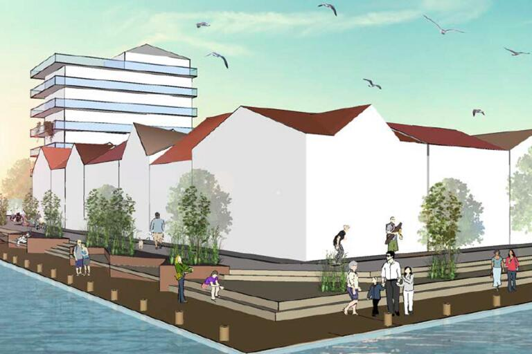 Det här är en av de skisser som kommunens planförslag innehåller och som beskriver hur det norra hamnområdet kan komma att se ut.