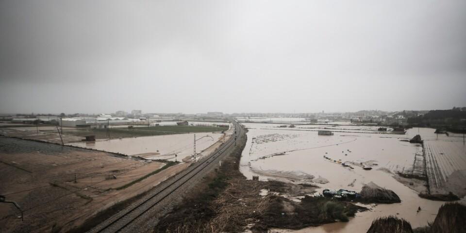 Ett översvämmat område i Malgrat, nära Barcelona i Spanien, onsdag den 22 januari.