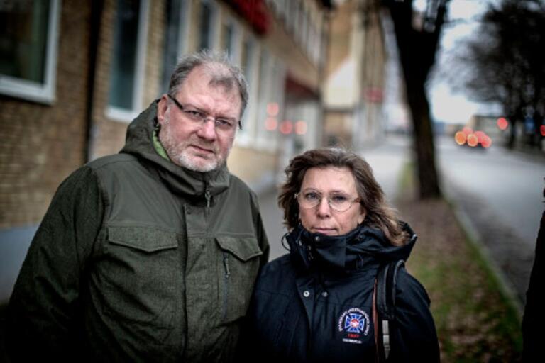 Sven Sawatzki och Marie Samuelsson, ombudsman på Transport i Borås.
