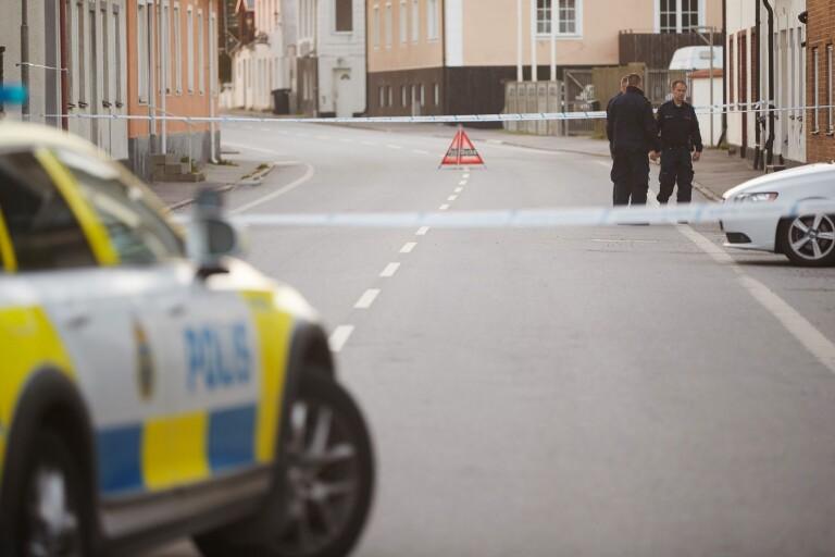 Polis på plats i Klagstorp på tisdagen.