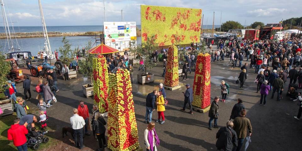 Gemytligheten under helgens folkfest i Kivik visste inga gränser. En kyss mellan äppelobeliskerna på hamnplan säger väl allt?