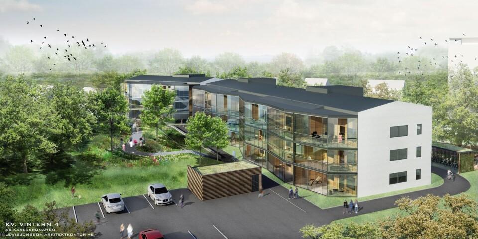 En skiss över det nya bostadsområdet så som det är tänkt att se ut.