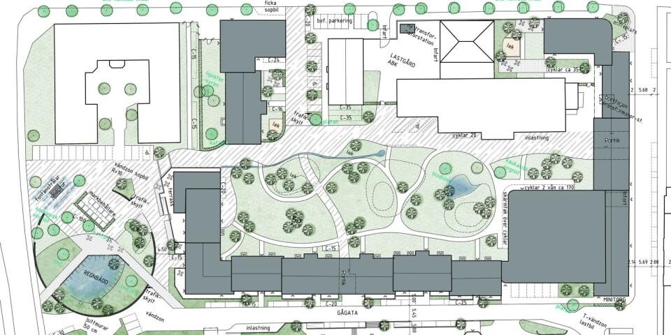 300 bostäder, den engelska parken blir på 4 000 kvadratmeter. Det ska finnas plats för tre torg, butiker och caféer.