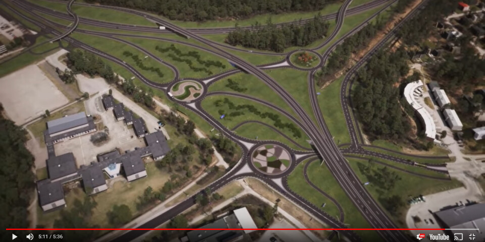 Illustration över den planerade trafikplatsen hämtad från Trafikverkets film om projektet.