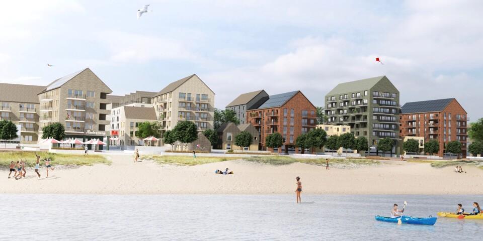 Den nya stadsdelen Västra Sjöstaden ska bli bostadsområde med badstrand. Illustrationen är gjord ungefär i höjd med ICA Maxi som ska vara kvar i området. Stormarknadens röda skylt skymtar i den vänstra delen av bilden.