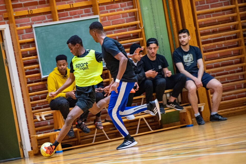 """The """"Youth for the Future"""" association  has attracted many newly-arrived young people to Fryshuset's football in the sports hall."""