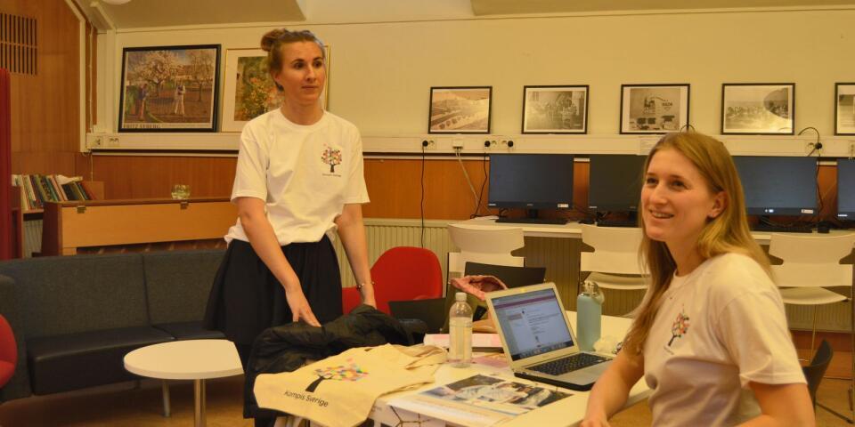 Amanda Holm Strandqvist och Linnea Håkansson är projektledare för Kompis Sverige.