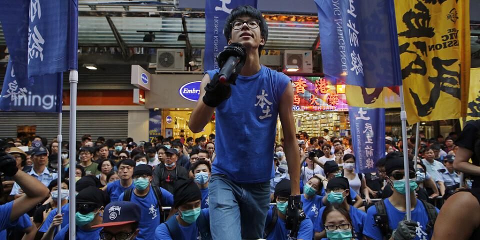 Aktivisten Ray Wong i samband med en manifestation i Hongkong 2015.