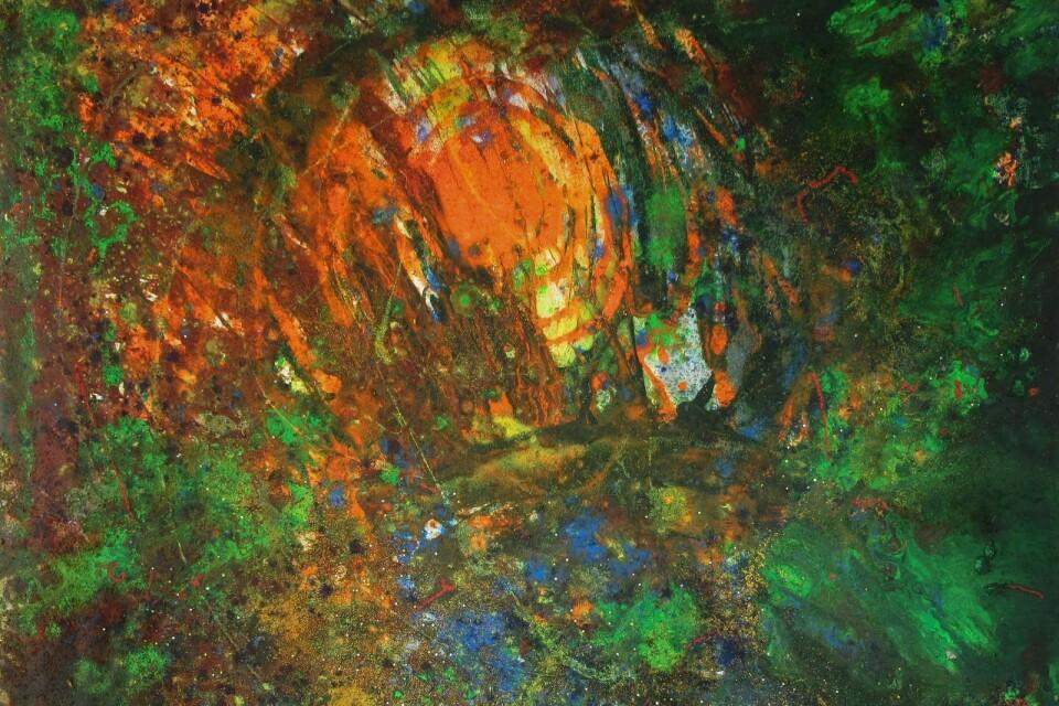 Epiphany, 130 x 130 cm, 2015 Eva DillnerAkryl och mixed media
